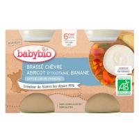 BABYBIO Brassé  z kozího mléka meruňka banán 2x130 g