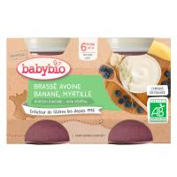 BABYBIO Brassé z ovesného mléka banán borůvka  2x130 g