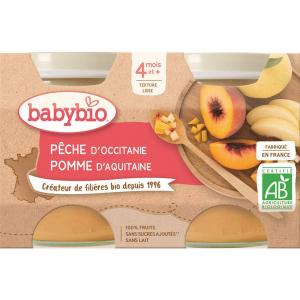 BABYBIO Broskev a jablko 2x130 g