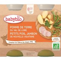 BABYBIO Denní menu Brambory a hrášek se šunkou 2x200 g