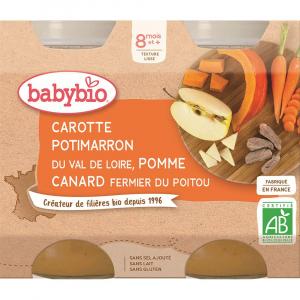 BABYBIO Denní menu Mrkev s dýní, jablkem a s kachním masem 2x200 g