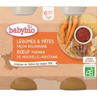 BABYBIO Denní menu Zelenina stěstovinami na boloňský způsob sfarmářským hovězím masem 2x200 g