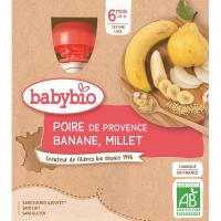 BABYBIO Hruška s banánem a proso 4x90 g