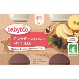 BABYBIO Jablko a borůvky 2x130 g
