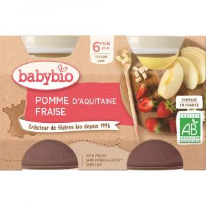 BABYBIO Jablko a jahoda 2x130 g