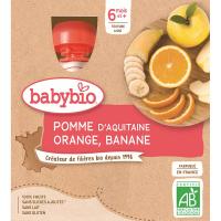 BABYBIO Jablko pomeranč banán 4x90 g