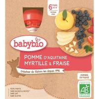 BABYBIO Jablko s borůvkou a jahody 4x90 g