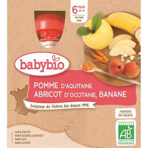 BABYBIO Jablko s meruňkou a banánem 4x90 g