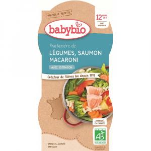 BABYBIO Jarní zelenina s lososem a makarony 2x200 g