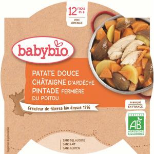 BABYBIO Menu Sladké brambory s kaštanovým pyré a farmářskou perličkou 230 g