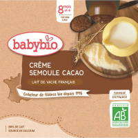 BABYBIO Mléčný dezert Kakaový krém s krupičkou 4x85 g
