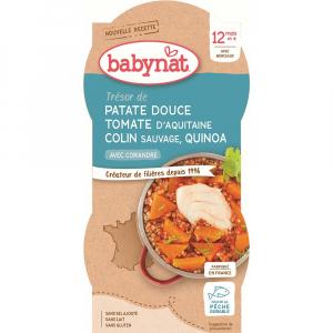 BABYBIO sladké brambory s rajčatovým pyré, mořskou štikou a quinoa 2x200 g