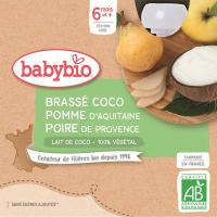 BABYBIO Svačinka s kokosovým mlékem - Jablko a hruška 4 x 85 g