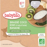 BABYBIO Svačinka s kokosovým mlékem - Kiwi a banán 4 x 85 g