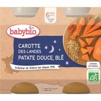 BABYBIO Večerní menu Mrkev se sladkými brambory a pšenicí 2x200 g
