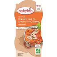 BABYBIO Zelenina s kuřecím masem a quinoa 2x200 g
