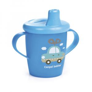 CANPOL BABIES Nevylévací hrníček TOYS modrý 250 ml