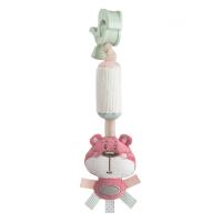 CANPOL BABIES Plyšová hračka se zvonečkem a klipem PASTEL FRIENDS růžový medvídek