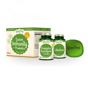 GREENFOOD NUTRITION Junior Immunity&prebiotics Colostrum 60 kapslí a Probiotika 60 kapslí + PILLBOX