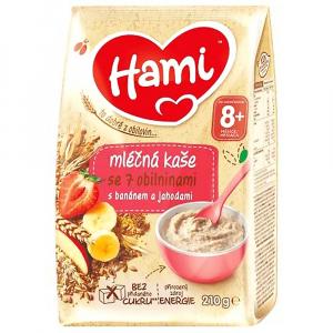 HAMI Mléčná kaše se 7 obilninami Banánová s jahodami od 8.měsíce 210 g