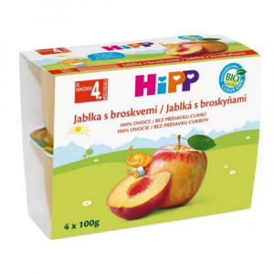 HIPP Ovoce 100% Jablka s broskvemi BIO 4x100 g