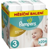 PAMPERS Premium care monthly 3 MIDI 5 - 9 kg 204 kusů
