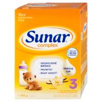 3 ks SUNAR Complex 3 Vanilka Pokračovací batolecí mléko od 12 měsíce 600 g = SLEVA