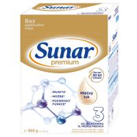 3 ks SUNAR Premium 3 Pokračovací batolecí mléko od 12. měsíců 600 g = SLEVA