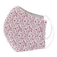 TNG Rouška textilní 3-vrstvá květinový červeno-bílý vzor velikost S 1 kus