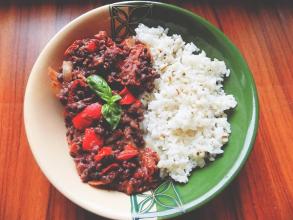 Zdravé vaření: Adzuki fazole s rýží a slzovkou